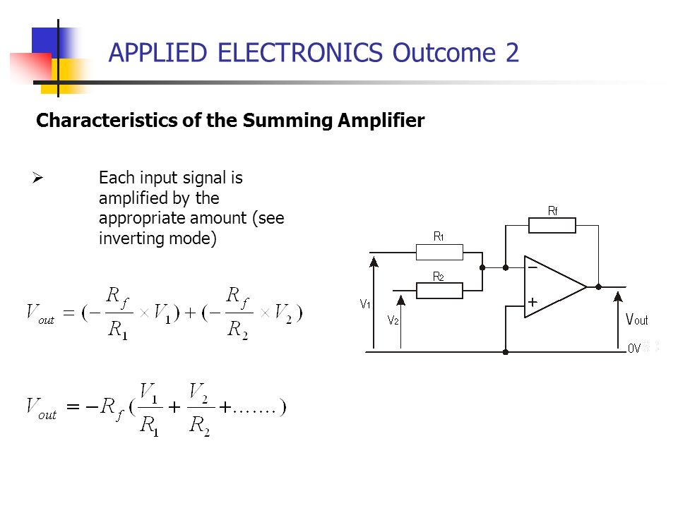 APPLIED ELECTRONICS Outcome 2 Each input signal is amplified by the appropriate amount (see inverting mode) Characteristics of the Summing Amplifier