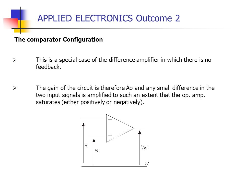 APPLIED ELECTRONICS Outcome 2 The comparator Configuration This is a special case of the difference amplifier in which there is no feedback. The gain