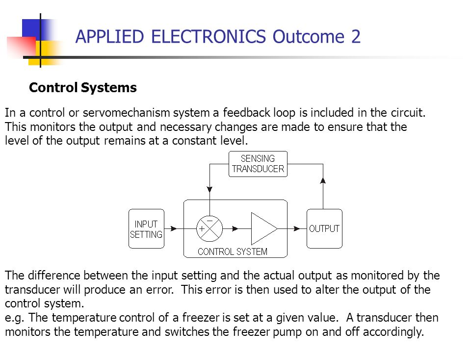 APPLIED ELECTRONICS Outcome 2 Control Systems In a control or servomechanism system a feedback loop is included in the circuit. This monitors the outp