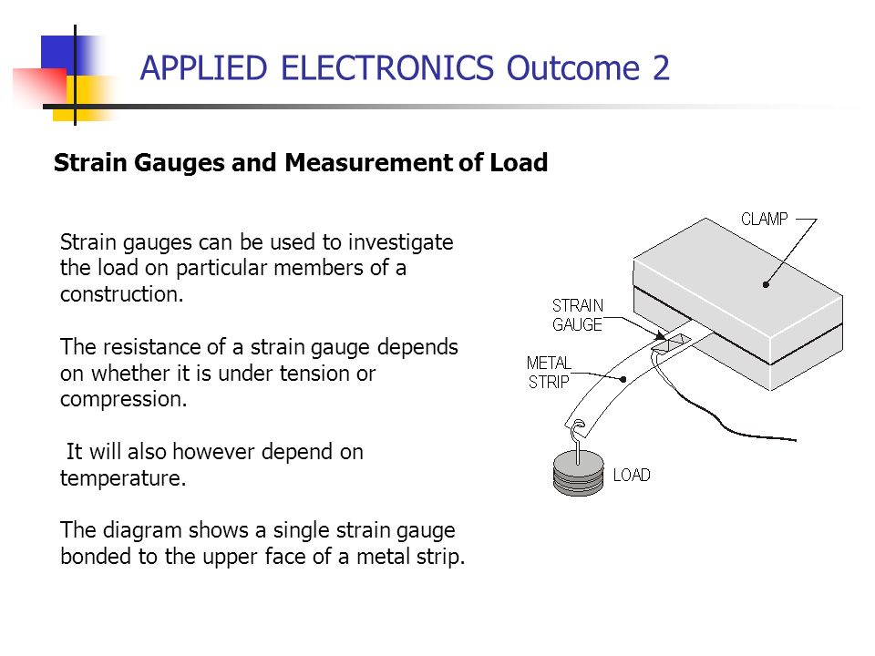 APPLIED ELECTRONICS Outcome 2 Strain Gauges and Measurement of Load Strain gauges can be used to investigate the load on particular members of a const