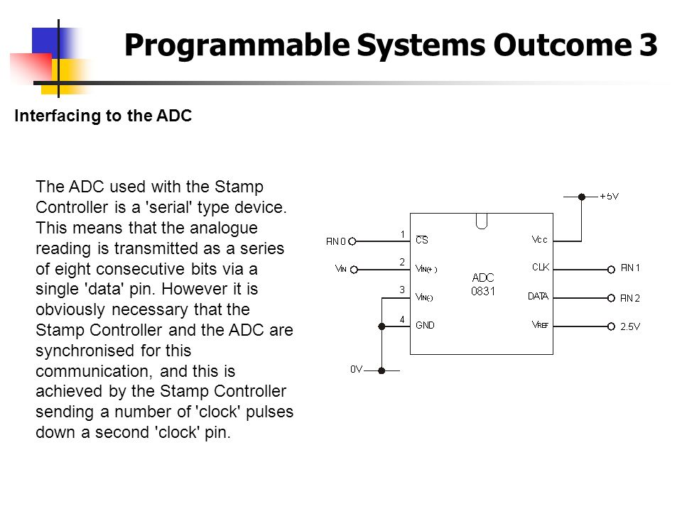 Programmable Systems Outcome 3 Interfacing to the ADC The ADC used with the Stamp Controller is a 'serial' type device. This means that the analogue r
