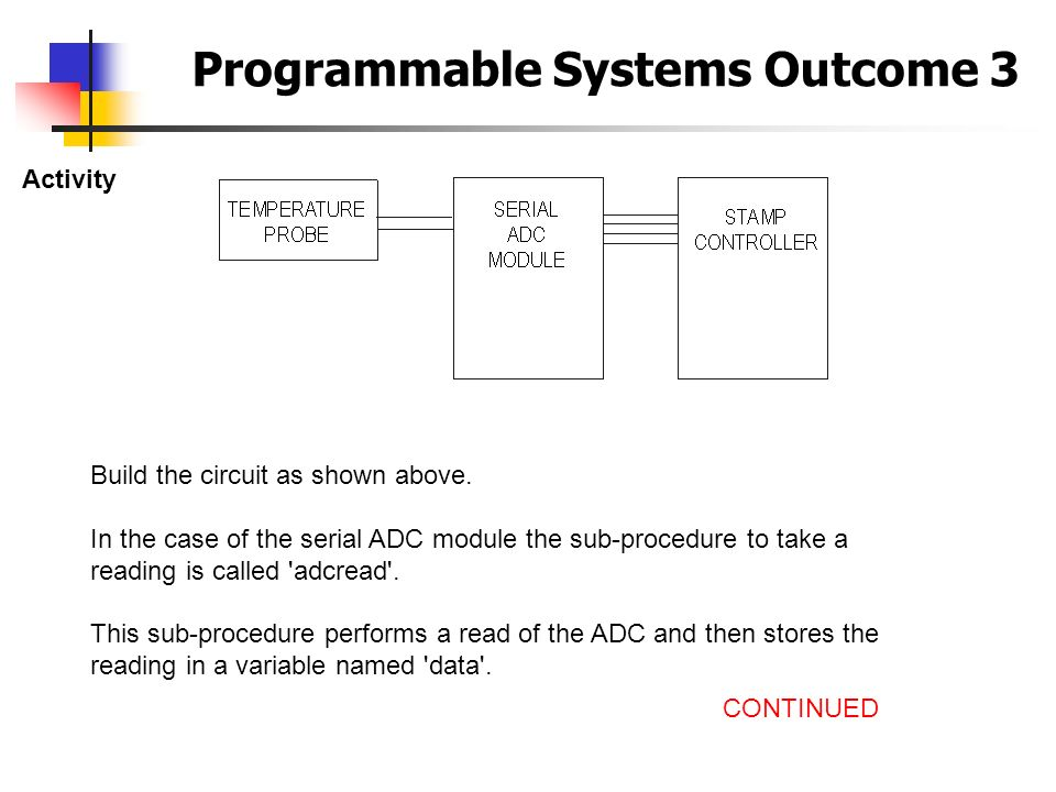 Programmable Systems Outcome 3 Activity Build the circuit as shown above. In the case of the serial ADC module the sub-procedure to take a reading is