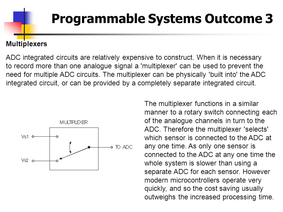 Programmable Systems Outcome 3 Multiplexers ADC integrated circuits are relatively expensive to construct. When it is necessary to record more than on