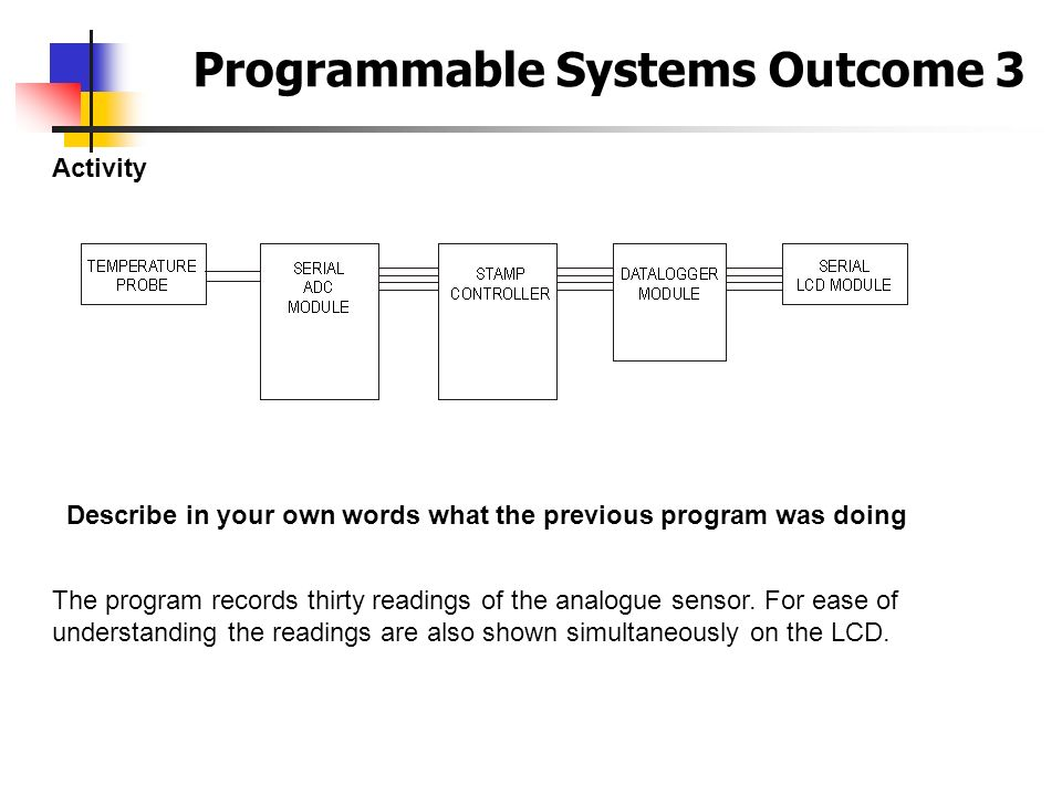 Programmable Systems Outcome 3 Activity Describe in your own words what the previous program was doing The program records thirty readings of the anal
