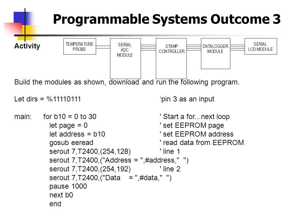 Programmable Systems Outcome 3 Activity Build the modules as shown, download and run the following program. Let dirs = %11110111pin 3 as an input main