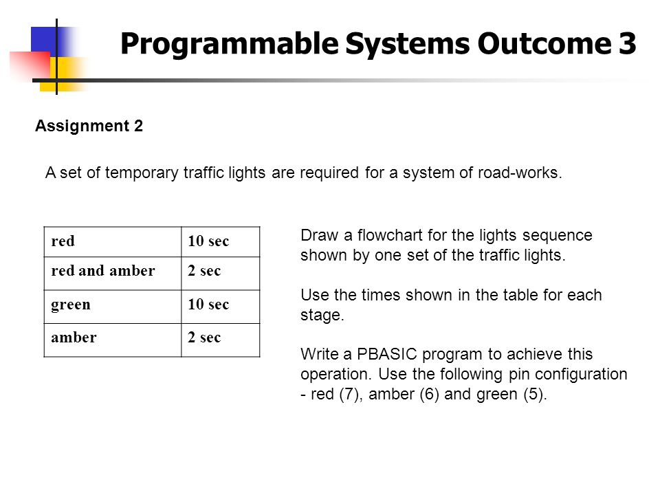 Programmable Systems Outcome 3 Assignment 2 A set of temporary traffic lights are required for a system of road-works. red10 sec red and amber2 sec gr