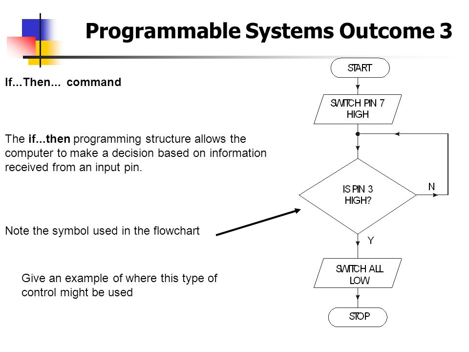 Programmable Systems Outcome 3 If...Then... command The if...then programming structure allows the computer to make a decision based on information re