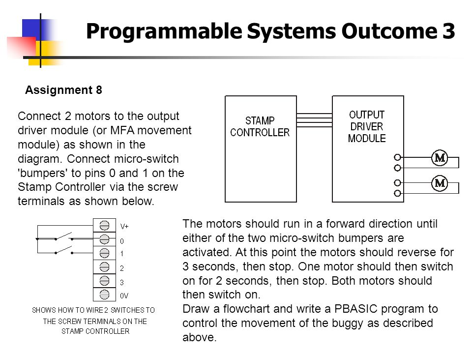 Programmable Systems Outcome 3 Assignment 8 Connect 2 motors to the output driver module (or MFA movement module) as shown in the diagram. Connect mic