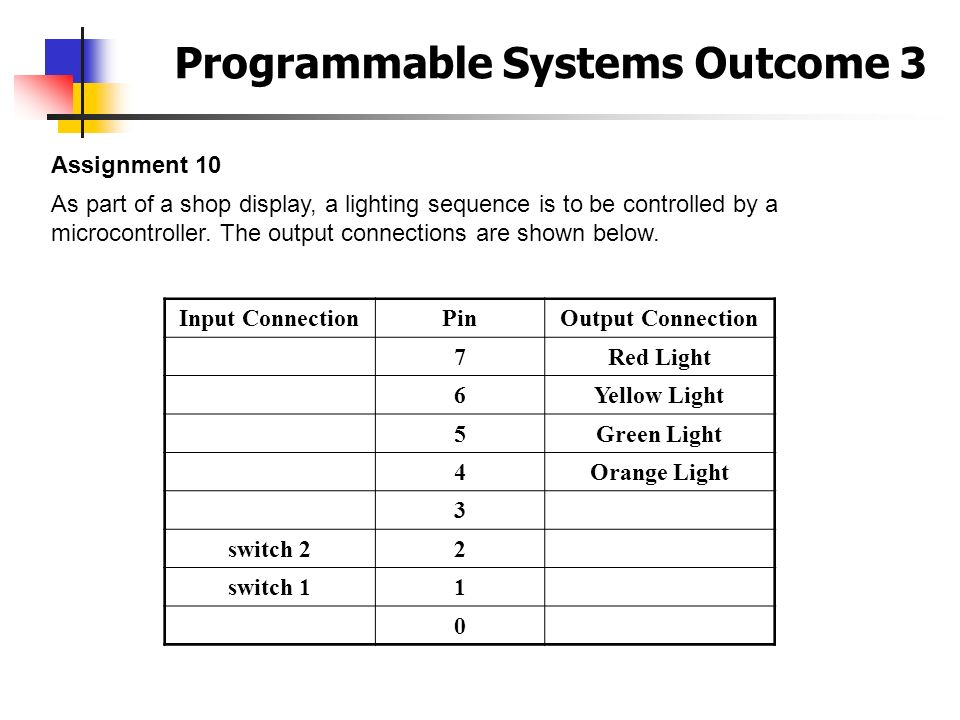 Programmable Systems Outcome 3 Assignment 10 As part of a shop display, a lighting sequence is to be controlled by a microcontroller. The output conne