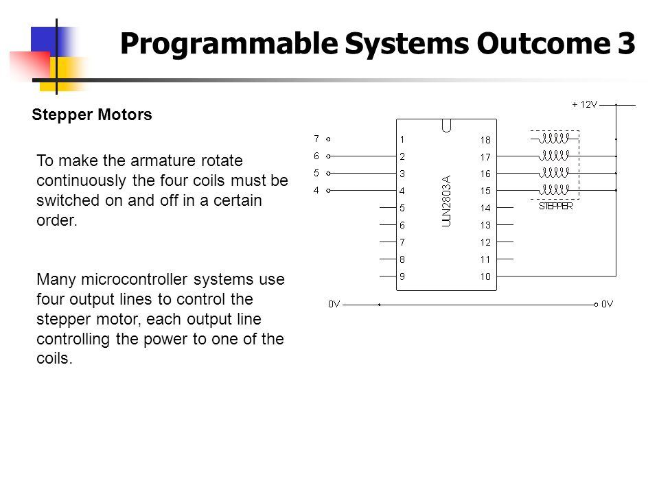 Programmable Systems Outcome 3 Stepper Motors To make the armature rotate continuously the four coils must be switched on and off in a certain order.