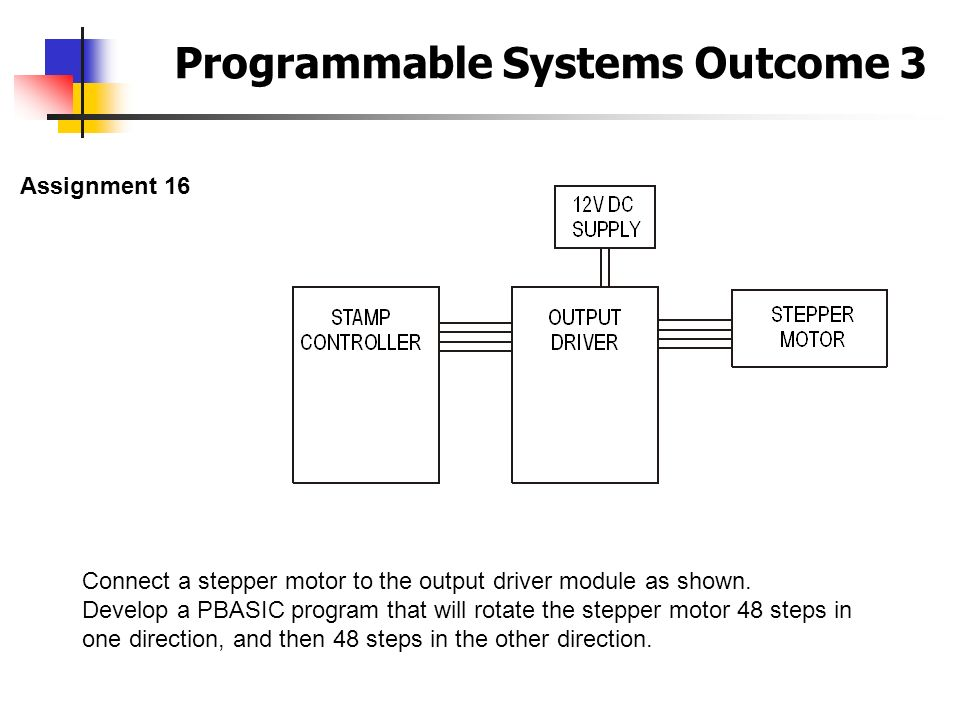 Programmable Systems Outcome 3 Assignment 16 Connect a stepper motor to the output driver module as shown. Develop a PBASIC program that will rotate t