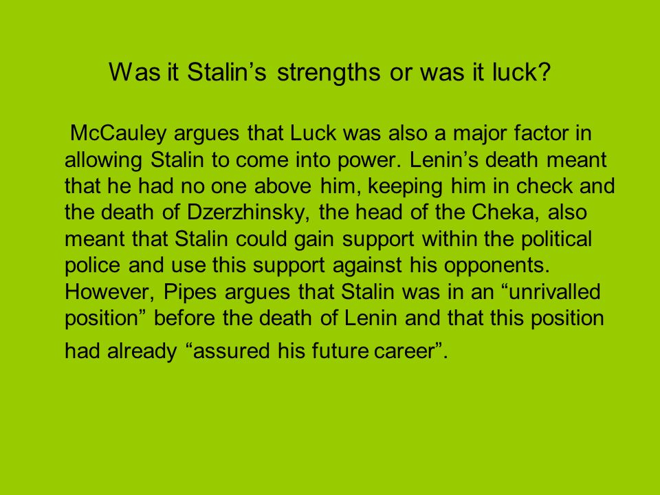 General Secretary Payne argues that the post of General Secretary was the greatest of all gifts he [Stalin] received from Lenin.