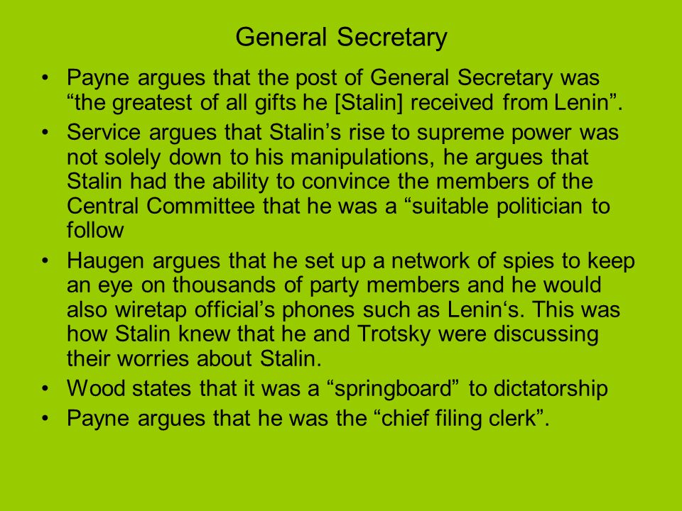 Liaison Officer between the Politburo and Orgburo (1919) Wood argues that these positions gave him …significant administrative and even executive power, he argues that it was the accumulation and manipulation of this power that led to Stalins rise to power.