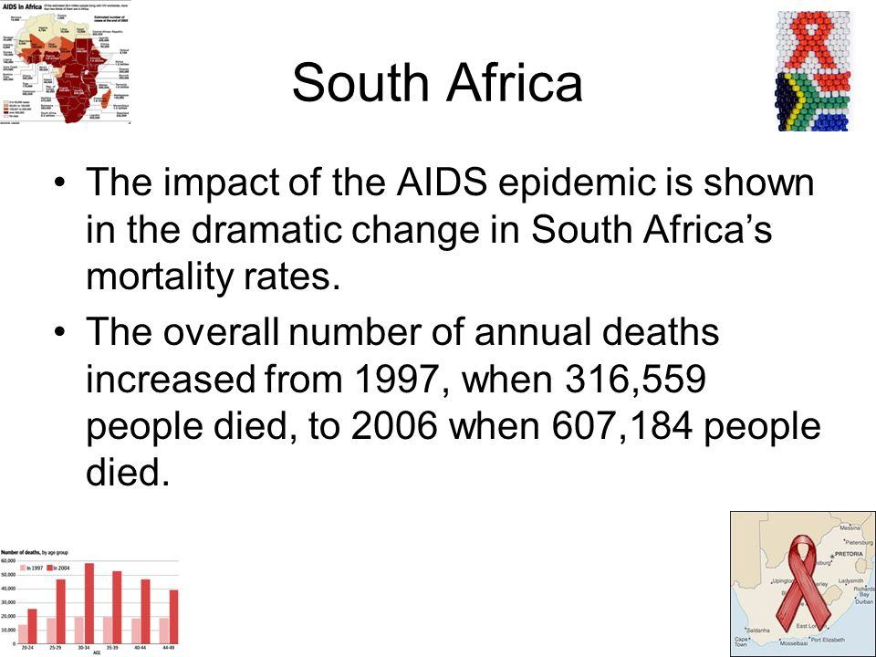 South Africa The impact of the AIDS epidemic is shown in the dramatic change in South Africas mortality rates.