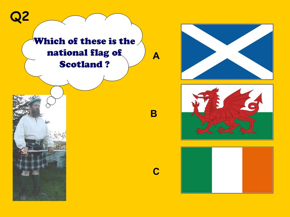 Which of these is the national flag of Scotland A B C Q2
