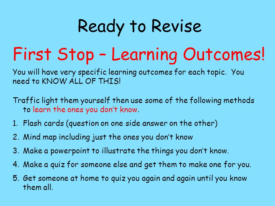 Ready to Revise First Stop – Learning Outcomes.