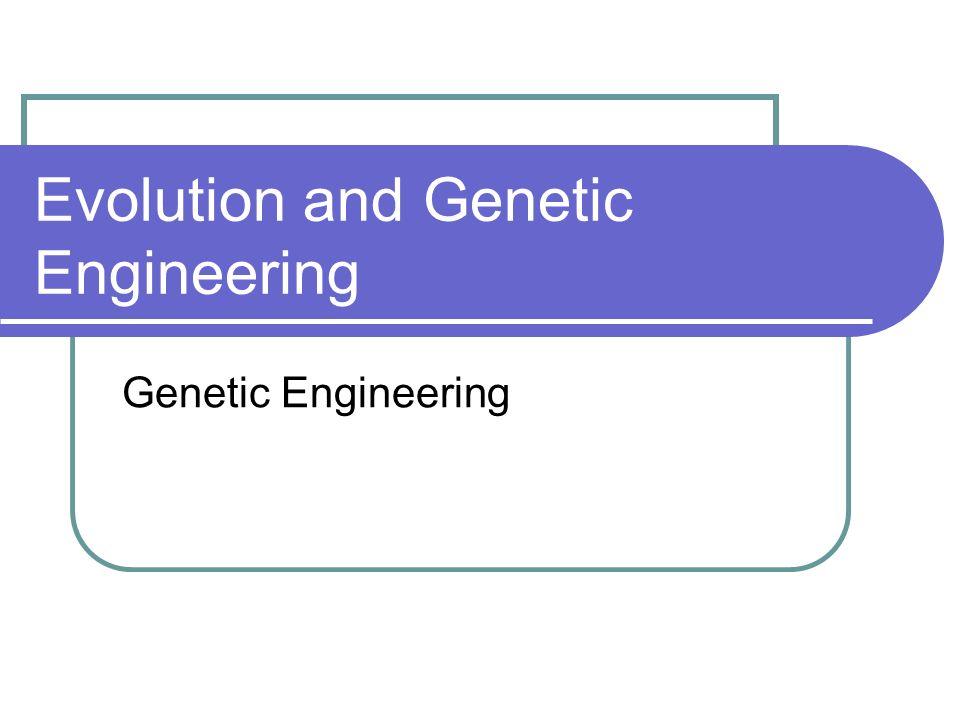Evolution and Genetic Engineering Genetic Engineering