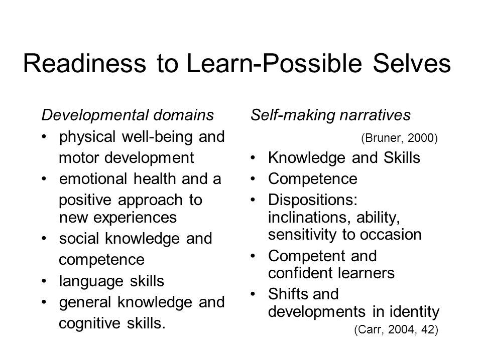 Readiness to Learn-Possible Selves Developmental domains physical well-being and motor development emotional health and a positive approach to new experiences social knowledge and competence language skills general knowledge and cognitive skills.