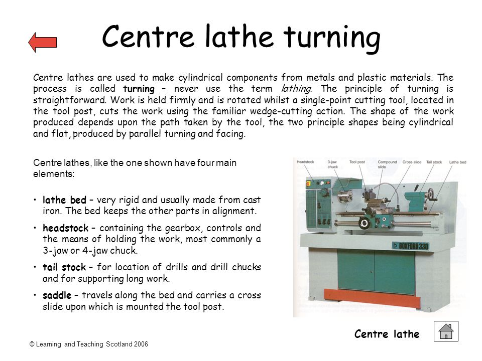© Learning and Teaching Scotland 2006 Centre lathe turning Centre lathes are used to make cylindrical components from metals and plastic materials.