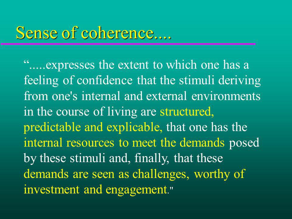 .....expresses the extent to which one has a feeling of confidence that the stimuli deriving from one's internal and external environments in the cour