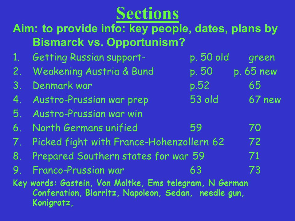 Aim: to summarise the notes you have been taking 1.Getting Russian support- 2.Weakening Austria & Bund 3.Denmark war 4.Austro-Prussian war prep 5.Austro-Prussian war win 6.North Germans unified 7.Picked fight with France-Hohenzollern 8.Prepared Southern states for war 9.Franco-Prussian war Poster to show the steps to Unification