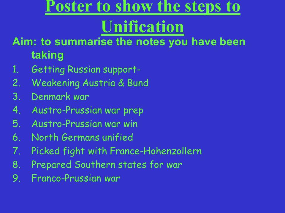Aim: to summarise the notes you have been taking 1.Getting Russian support- 2.Weakening Austria & Bund 3.Denmark war 4.Austro-Prussian war prep 5.Aust