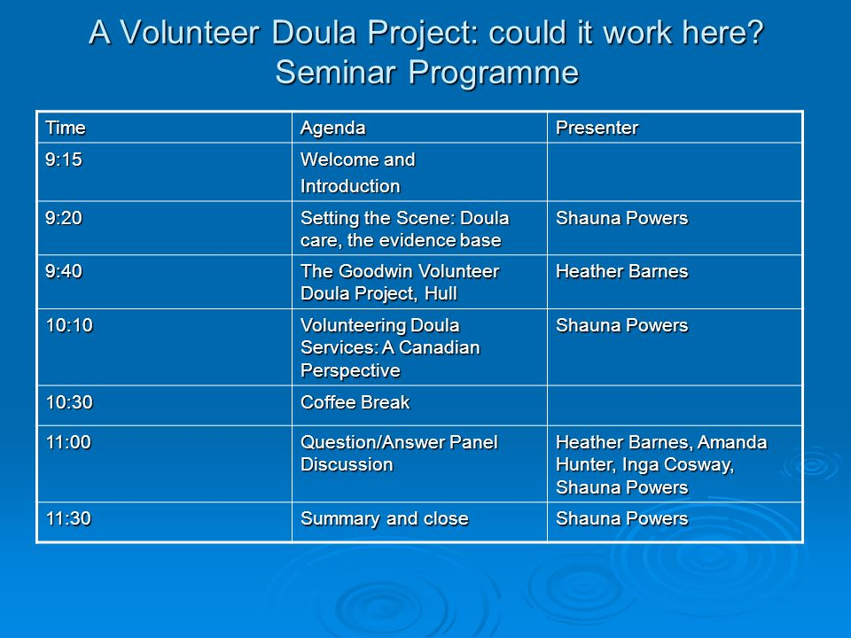 A Volunteer Doula Project: could it work here.