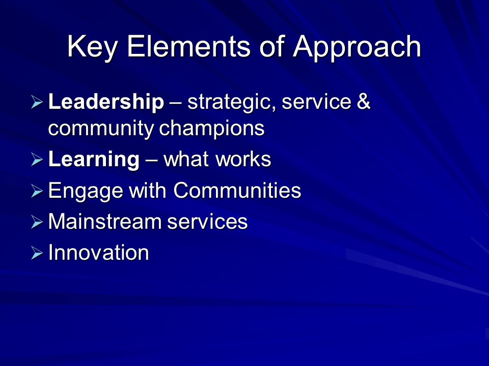 Key Elements of Approach Leadership – strategic, service & community champions Leadership – strategic, service & community champions Learning – what w