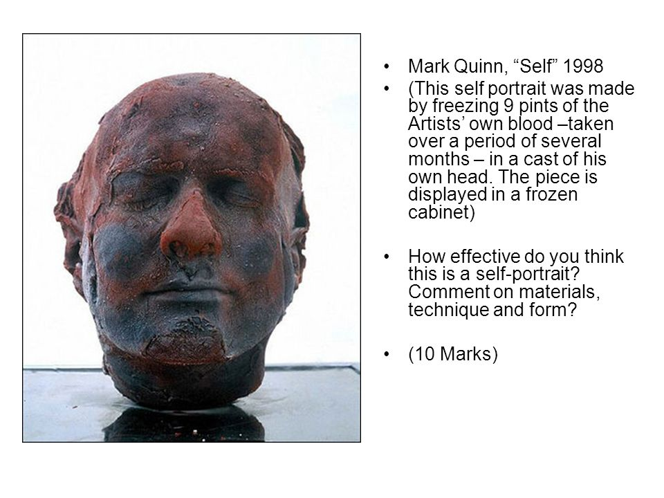 Mark Quinn, Self 1998 (This self portrait was made by freezing 9 pints of the Artists own blood –taken over a period of several months – in a cast of his own head.