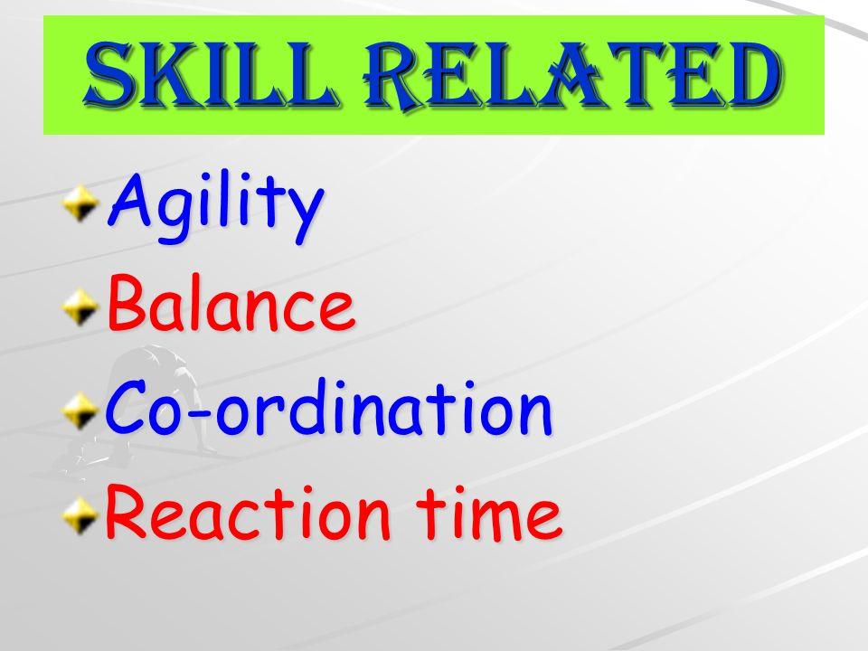 Skill Related AgilityBalanceCo-ordination Reaction time