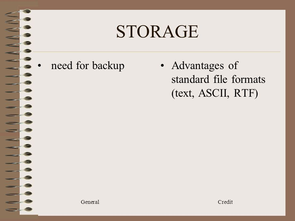 General Credit STORAGE need for backupAdvantages of standard file formats (text, ASCII, RTF)