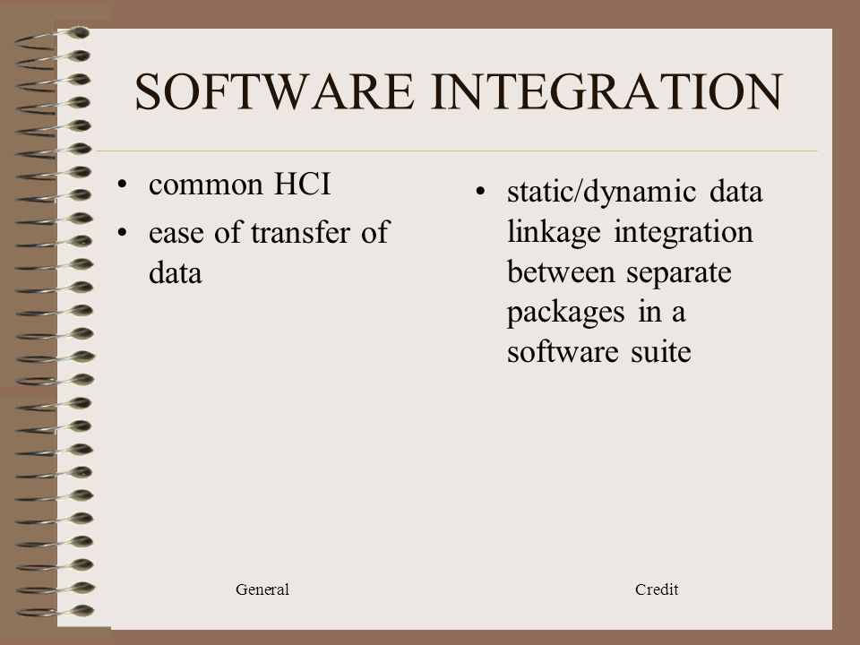 General Credit SOFTWARE INTEGRATION common HCI ease of transfer of data static/dynamic data linkage integration between separate packages in a software suite