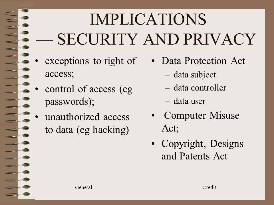 General Credit IMPLICATIONS SECURITY AND PRIVACY exceptions to right of access; control of access (eg passwords); unauthorized access to data (eg hacking) Data Protection Act –data subject –data controller –data user Computer Misuse Act; Copyright, Designs and Patents Act