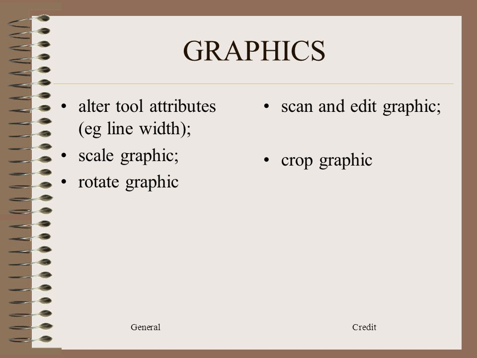 General Credit GRAPHICS alter tool attributes (eg line width); scale graphic; rotate graphic scan and edit graphic; crop graphic