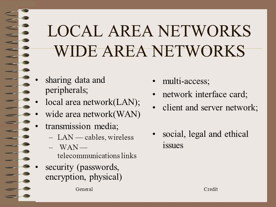General Credit LOCAL AREA NETWORKS WIDE AREA NETWORKS sharing data and peripherals; local area network(LAN); wide area network(WAN) transmission media; –LAN cables, wireless – WAN telecommunications links security (passwords, encryption, physical) multi-access; network interface card; client and server network; social, legal and ethical issues