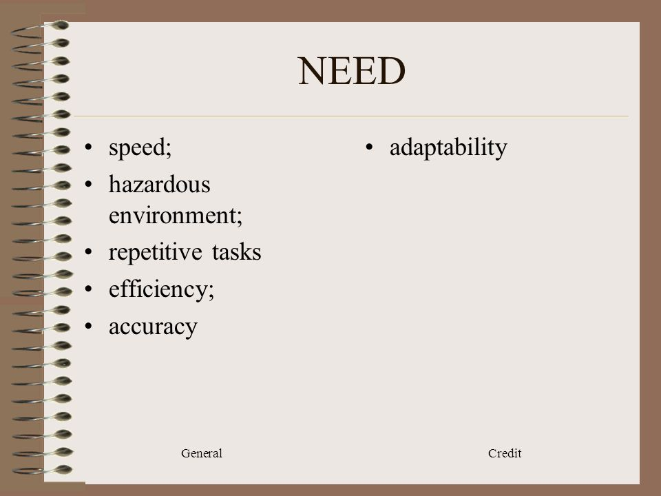 General Credit NEED speed; hazardous environment; repetitive tasks efficiency; accuracy adaptability