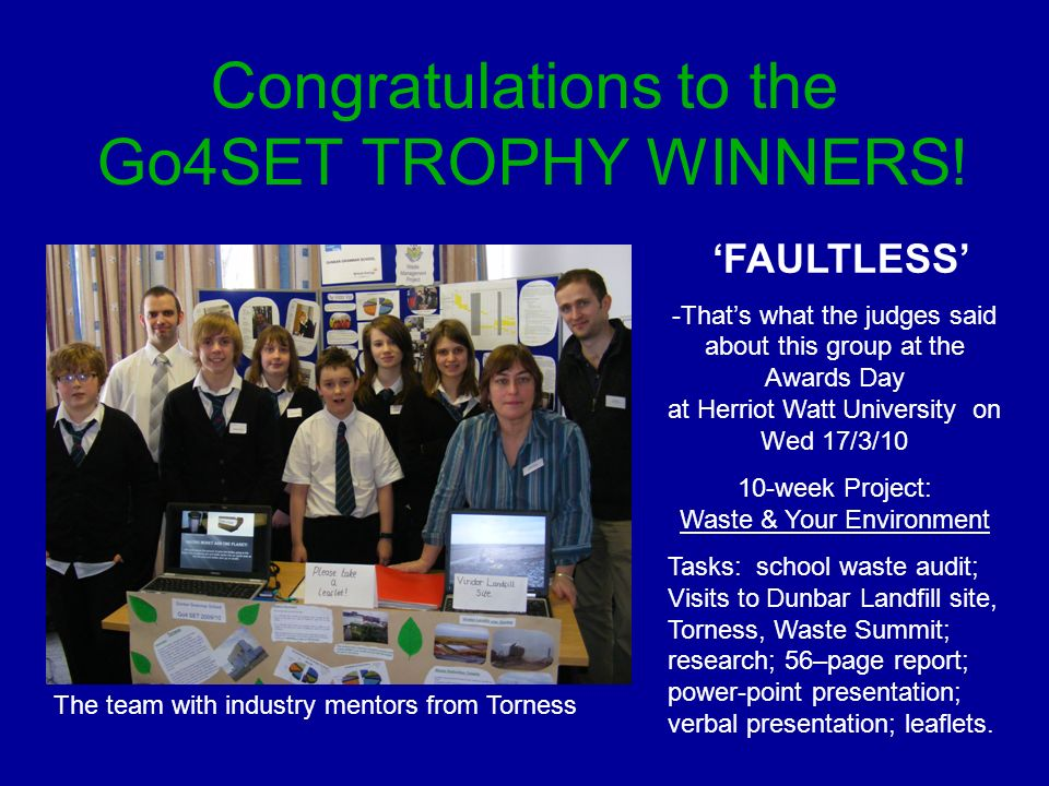 Congratulations to the Go4SET TROPHY WINNERS.