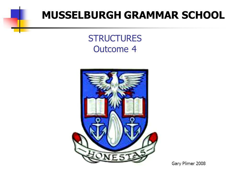 STRUCTURES Outcome 4 Gary Plimer 2008 MUSSELBURGH GRAMMAR SCHOOL