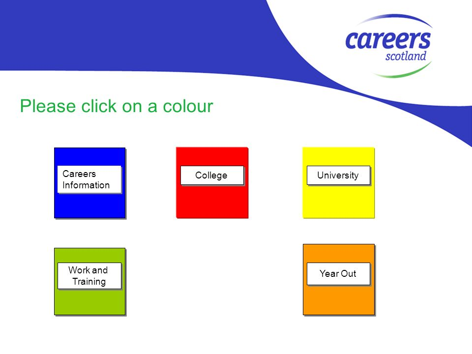 Please click on a colour Careers Information Careers Information Work and Training Work and Training College University Year Out