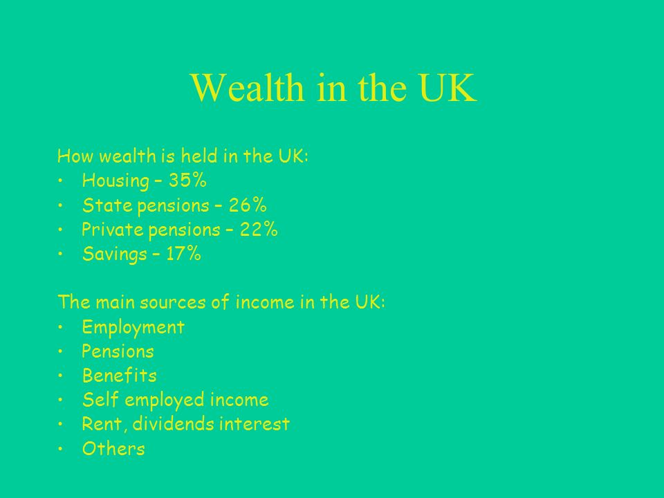 Wealth in the UK How wealth is held in the UK: Housing – 35% State pensions – 26% Private pensions – 22% Savings – 17% The main sources of income in the UK: Employment Pensions Benefits Self employed income Rent, dividends interest Others