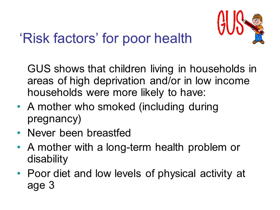 GUS shows that children living in households in areas of high deprivation and/or in low income households were more likely to have: A mother who smoke