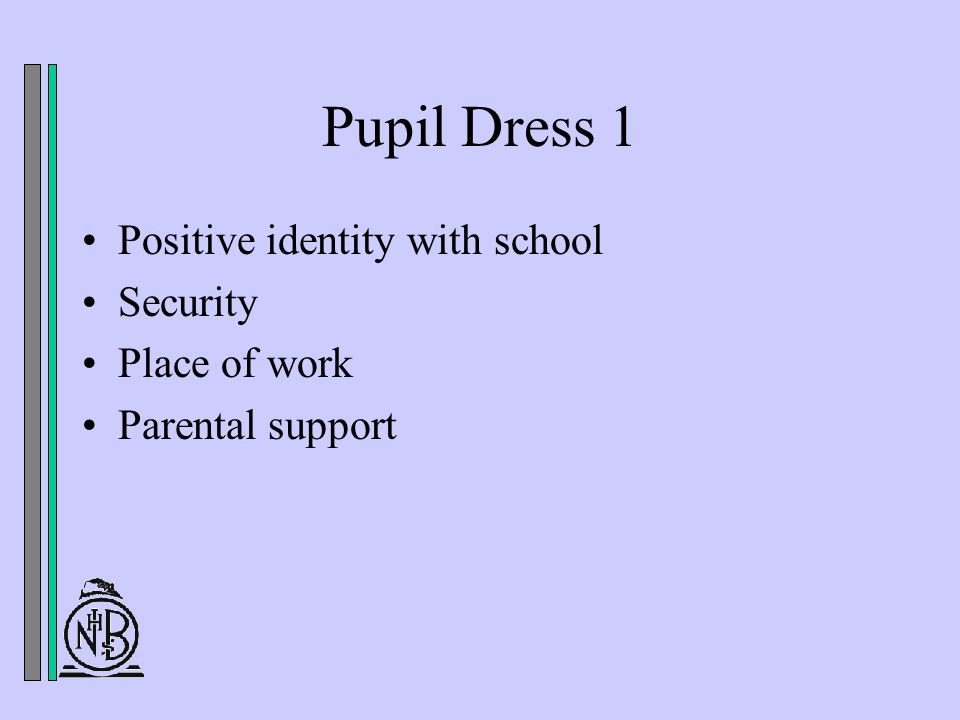 Pupil Dress 1 Positive identity with school Security Place of work Parental support