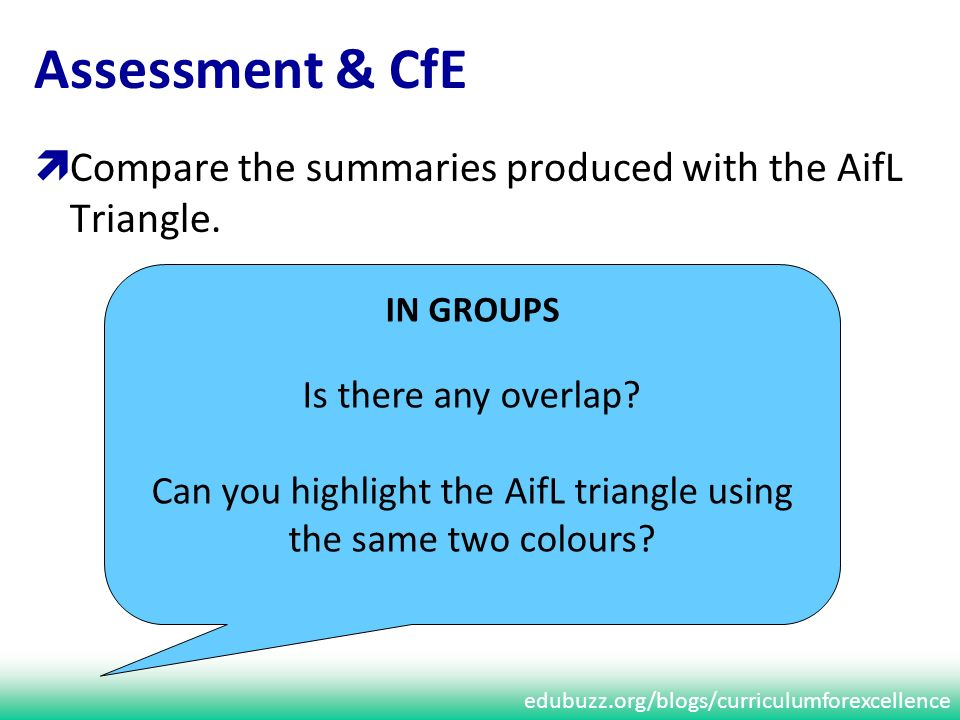 edubuzz.org/blogs/curriculumforexcellence Assessment & CfE Compare the summaries produced with the AifL Triangle.