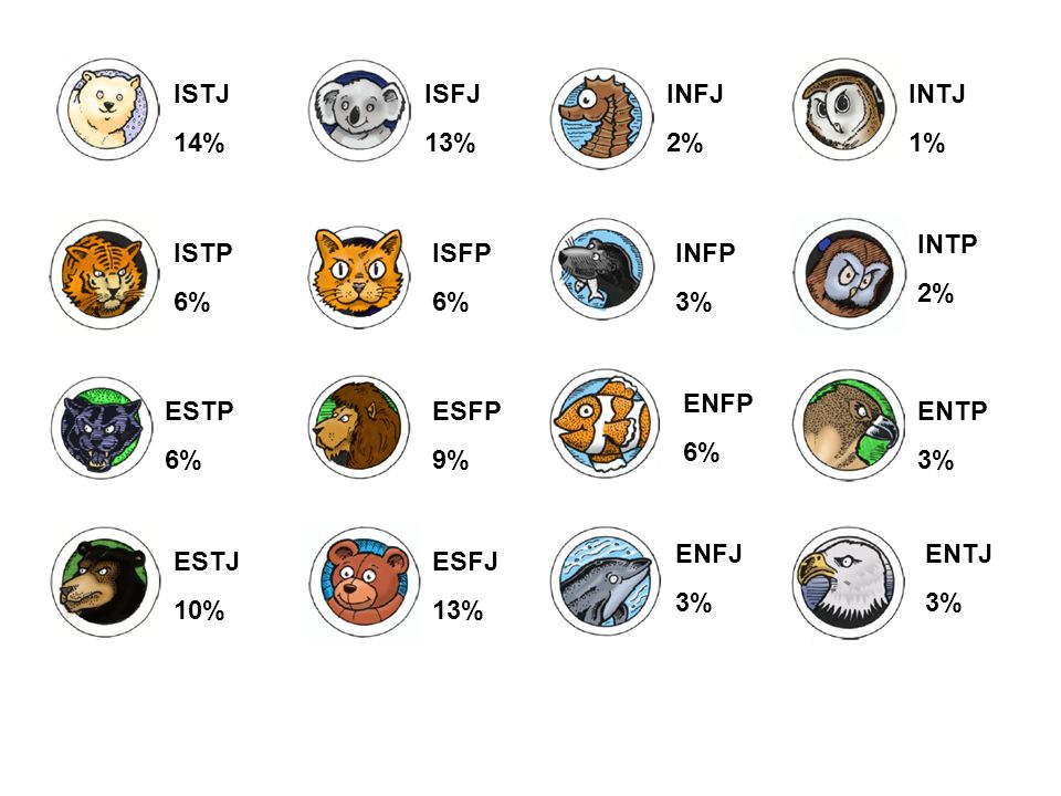 ISTJ 14% ISFJ 13% INFJ 2% INTJ 1% ISTP 6% ISFP 6% INFP 3% INTP 2% ESTP 6% ESTJ 10% ESFP 9% ENFP 6% ENTP 3% ESFJ 13% ENFJ 3% ENTJ 3%