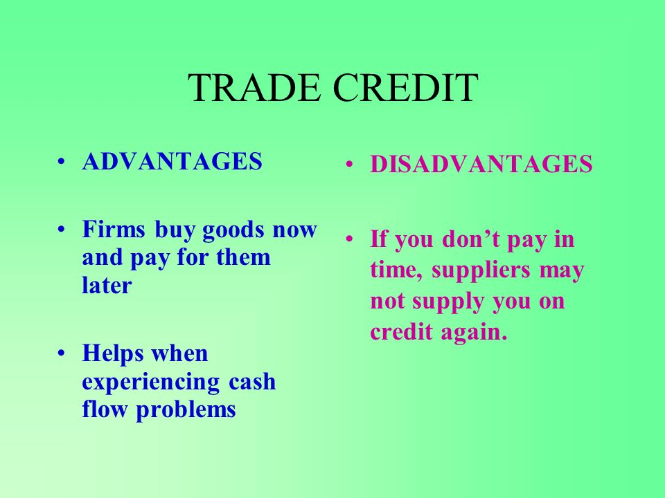 FACTORING ADVANTAGES Sell the debt to another company Improves cash flow as you are getting some money Factor chases up the debt DISADVANTAGES Dont receive the full amount owed to you Factors will only be interested in large amounts