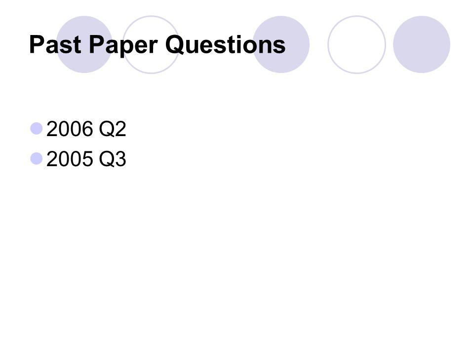 Past Paper Questions 2006 Q2 2005 Q3