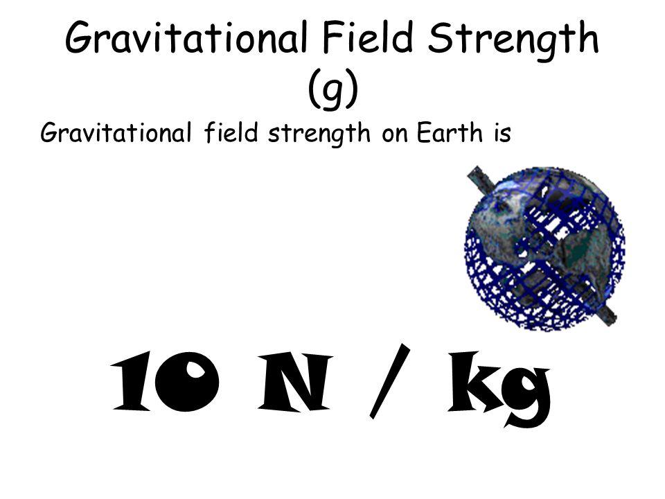 Gravitational Field Strength (g) Gravitational field strength on Earth is 10 N / kg