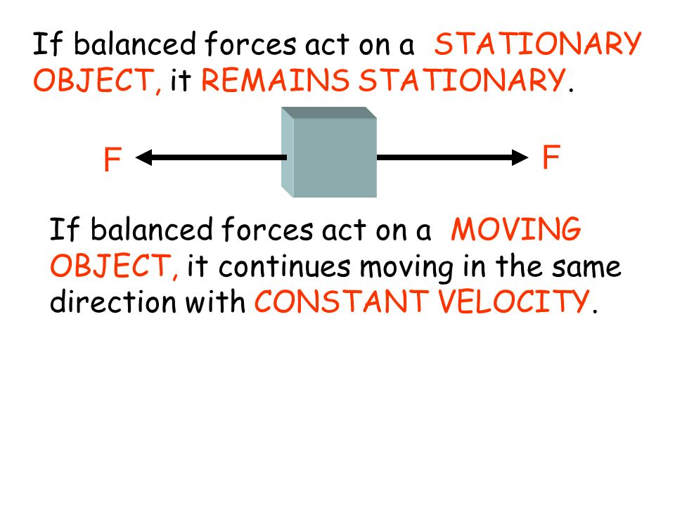 If balanced forces act on a STATIONARY OBJECT, it REMAINS STATIONARY. F F If balanced forces act on a MOVING OBJECT, it continues moving in the same d