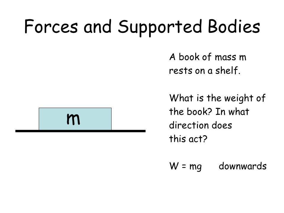 Forces and Supported Bodies A book of mass m rests on a shelf. What is the weight of the book? In what direction does this act? W = mg downwards m