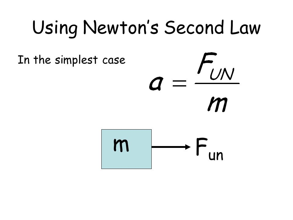 Using Newtons Second Law In the simplest case m F un